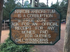 Nairobi Arboretum - Corruption free zone