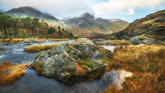 Rock solid (Einir Wyn) Tags: landscape valley outdoor orange ogwenvalley water rock mountain wales cymru uk britain snowdonianationalpark nikon nature natural colour color clouds sky light foliage trees passion plants rocks river rain rural rugged climate winter wow