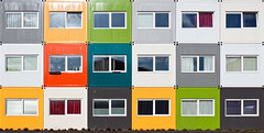 Colorful Cubes (Frenklin) Tags: abstract architecture modern student thenetherlands symmetry container april cubes groningen stad architectuur 2012 studenten kubus studenthousing damsterdiep symmetrie symmetrisch studentenhuisvesting shippingcontainerhouse april2012 wooncontainer