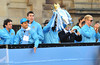 Owen Hargreaves, Sergio Aguero and Joe Hart Manchester City Premier League Title victory parade. Players and staff of Manchester City parade the English Premier League Trophy through the city centre from an open-top bus Manchester, England