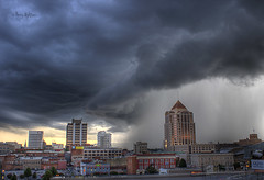Downtown Deluge (Terry Aldhizer) Tags: sky storm rain weather clouds buildings virginia downtown wells roanoke terry thunderstorm fargo hdr downpour engulf deluge aldhizer terryaldhizercom