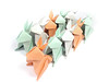 Coral Teal And Grey Origami Bunnies