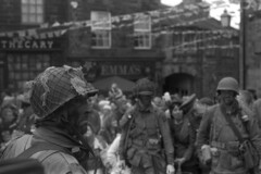 Military Men (Julian Dyer) Tags: vintage blackwhite events yorkshire 35mmfilm ilforddelta400 fujicast705 haworth ilfordddx haworth1940sweekend haworth1940s