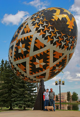 World's Largest Easter Egg @ Vegreville Alberta (LostMyHeadache: Absolutely Free *) Tags: trees sky people dog pet art nature statue clouds triangles canon reflections beefy alberta 1001nights easteregg davidsmith vegreville pysanka ukrainianculture calgaryalbertacanada sculptuire worldslargesteasteregg eos60d