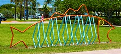 Grouper Bike Rack (LarryJay99 ) Tags: park sky beach skyscape florida bluesky atlanticocean bikerack oblong