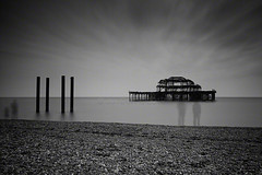 an observational peace (Jon Downs) Tags: uk longexposure sea bw white black art monochrome digital canon downs landscape photography eos mono photo seaside jon brighton flickr artist peace photographer image united ghost picture kingdom pic westpier photograph observe 7d ghosts piece phantom phantoms observer jondowns