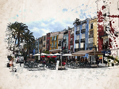 Villajoyosa - Artists Impression. (BlueMan.) Tags: colour bar photoshop painting spain nikon may 777 compact villajoyosa nikonl18