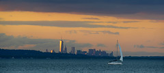Sunset, City, Sailboat (hpaich) Tags: desktop new york nyc newyorkcity sunset wallpaper sky cloud newyork color water weather sailboat bay boat skies nuvola manhattan background cielo sail nuvem nube desktopwallpaper wolk desktopbackground raritan pilv