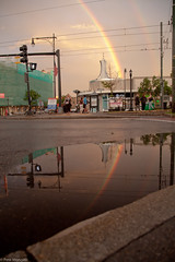 Reflections (petemonge) Tags: sunset rain boston corner train rainbow harvard coolidge mbta brookline beacon