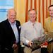 Dick Bourke, IHF Benevolent Fund Chairman, Martin Horan, Winner nearest the pin on 17th & Michael Vaughan