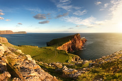 Neist Point II (Philipp Klinger Photography) Tags: ocean uk greatbritain blue light sunset shadow red sea summer sky cliff cloud sun lighthouse seascape skye green nature water grass yellow rock clouds landscape island evening scotland hi