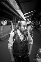 Streets of Japan (YuJin Lim) Tags: street bw face japan hair beard nose eyes market bald ears vest