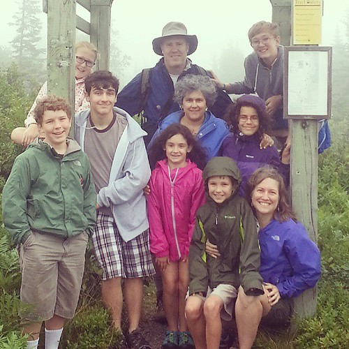 "A hike up a very foggy mountain!  With Team Wills on Cape Smokey, or today the kids dubbed it ""Cape Spooky."""