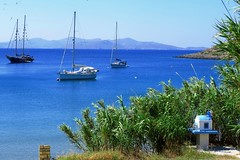 Blue bay with sails (Marite2007) Tags: blue sea summer seascape nature water colors boats outdoors greek islands marine scenery mediterranean escape natural sails aegean scenic picture hellas location greece coastal shore destination environment daytime aquatic sailboats setting picturesque lipsi dodecanese