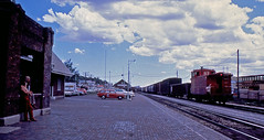 Santa Fe freight stopping in Flagstaff AZ 1980 (SSAVE w/ over 5 MILLION views THX) Tags: railroad arizona santafe flagstaff 1980 georgelane