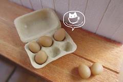 egg n egg carton 2 (asuka sakumo) Tags: food miniature handmade egg carton halfdozen scale112 oneinchscale miniatureclay asukasakumo