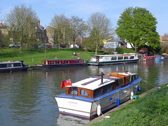 Boats moored on the river Cam (jrw080578) Tags: trees cambridge river boats cambridgeshire rivercam narrowboats