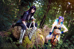 Yuri Lowell & Judith (Tales of Vesperia) (Calssara) Tags: game anime woods fighter cosplay manga fantasy judith yuri sword bluehair lowell purplehair tov photoshooting purpleeyes elfears cosplayphotoshoot talesofvesperia yurilowell