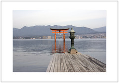 The Great Torii, Miyajima, Early Morning Light (Pictures from the Ghost Garden) Tags: sea color colour reflection water japan coast nikon shrine hiroshima miyajima dslr torii itsukushima   18105mm d7100