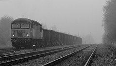 56301 at Thoresby Colliery sidings April 2013 (kevaruka) Tags: uk greatbritain england bw mist misty fog composition train canon grid photography eos blackwhite spring flickr gloomy diesel unitedkingdom foggy rail railway dreary trains mining adobe gb april locomotive frontpage britishrail nottinghamshire testtrack lightroom freighttrain dcr thoresby edwinstowe eosdigital drearyday networkrail 2013 550d railfreight class56 56301 railnetwork thoresbycolliery thephotographyblog thoresbypit