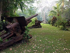 Japanese Type 96 15 cm howitzers on Guadalcanal, Solomon Islands.