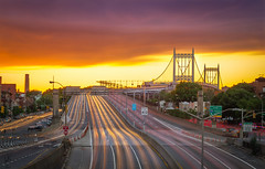 Long exposure study - RFK bridge (ealfons1) Tags: road street city nyc newyorkcity longexposure sunset sky urban skyline architecture prime lights highway cityscape traffic cloudy outdoor dusk magenta queens freeway astoria goldenhour gcp