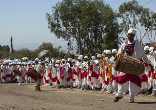 Ethiopian Orthodox Priests Celebrating The Colorful Timkat Epiphany Festival, Lalibela, Ethiopia