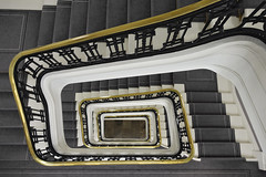 Staircase (steven.kemp) Tags: property london berkeleysquare mayfair posh grand staircase spiral steps stairs carpet handrail gold office building perspective