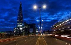 Speed of light. (Westhamwolf) Tags: light shard london city bridge bus thames capital skyscraper
