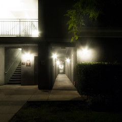 vanishing point (MyArtistSoul) Tags: oxnard ca nightwalk apartment building outdoor hall perspective vanishingpoint lights glare flare urban square 1504 s100