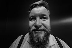 S (Zesk MF) Tags: bw black white zesk nikon sigma 8mm portrait crazy strange man beard bart hosentrger close distortion nah party live living portraitlens weitwinkel verzerrung mann flash