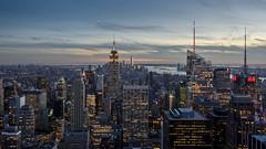 Manhattan lights (explored) (GDDigitalArt) Tags: newyork rockerfella buildings city evening height urban view skyline manhattan