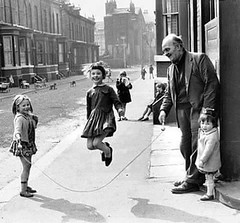 Grandfather (kevin63) Tags: lightner photo girls jump rope elderly old man street playing city