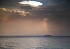 Container Ship Rainbow (Ancon0031) Tags: rainbow containership pointcartwright clouds sunshinecoast ocean