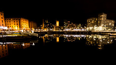 The Albert Dock, Liverpool. (dave.mcculley) Tags: albertdock liverpool merseyside water night reflections black lights christmaslights sigma1020