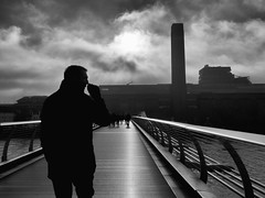 DSCF0775 (Neil Johansson LRPS) Tags: fuji fujifilm x30 fujifilmx30 digital black white blackandwhite monochrome noir filmnoir cinematic light dark silhouette urban urbanphotography streetphotography architecture london greaterlondon england southeast uk bankside millenniumbridge tatemodern