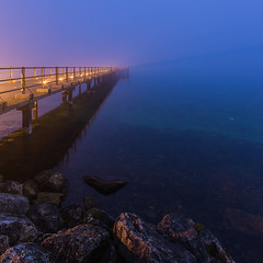 (swoony) Tags: longexposure poselongue heurebleue bluehour pier ponton lac lake