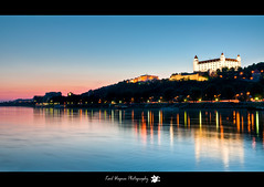 Bratislava castle (karl.wagner.photography) Tags: blue light sunset sky sun castle water reflections riverside slovakia bratislava danube slowakei hrad burg donau pressburg