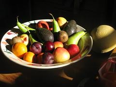Bowl of fruit (fotobyanna) Tags: stilllife orange apple fruit canon avocado plum bowl pear kiwi melon g9