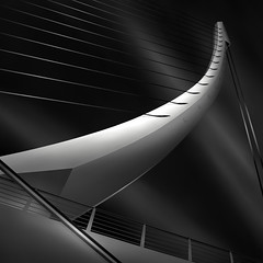 like a harp's strings II - harmony (Julia-Anna Gospodarou) Tags: bridge blackandwhite bw white abstract detail metal architecture night square construction nikon metallic athens pylon greece wires calatrava wired harp tamron tension modernarchitecture santiagocalatrava 2012 manfrotto hoya longshutterspeed blacksky nd400 organicshapes manfrotto055xprob bw106 nikond7000 juliaannagospodarou siruik20x tamronaf18270mm3563pzd