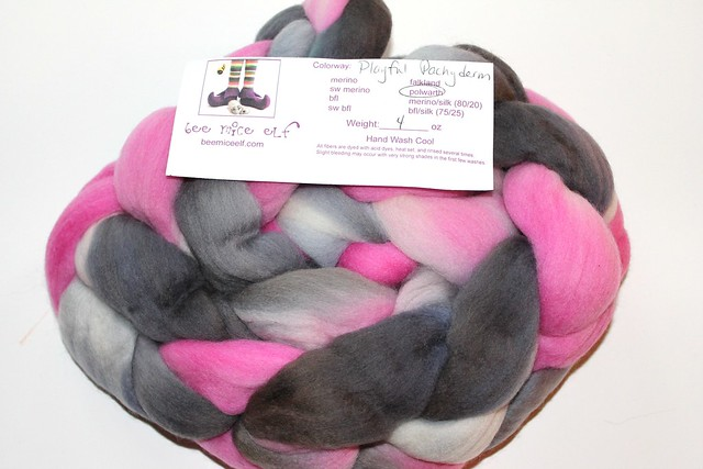 "Bee Mice Elf Polwarth Fiber - ""Playful Pachyderm"" REDUCED"