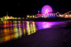 Santa Monica Pier [Explored] (boingyman.) Tags: travel vacation seascape night canon landscape lights pier cityscape nightscape santamonica ferriswheel santamonicapier hdr 1022 waterscape t2i