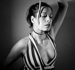 Strangle the Ego V (grained up version) (pukilin) Tags: light portrait bw selfportrait 35mm ego neck shadows dress retrato grain bn strangle autorretrato choke vestido cuello estrangular nikond3100 strangletheego