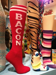 BACON SOCKS! - Las Vegas, NV (tossmeanote) Tags: las vegas red shop bay bacon sock display market stripes nevada nv novelty mandalay iphone shoppes 2013 tossmeanote