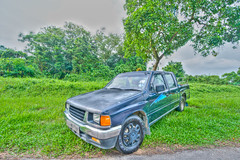 Necholas 4 Generation Pickup (chaoticbusher) Tags: blue up car grey evening shoot gloomy gray pickup jeremy nicholas lorry van pick hui hdr ong d800 uwa 3exposure 3ev 1024mm necholas
