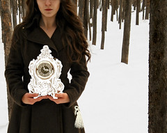 Untitled (Amanda.T) Tags: trees winter snow clock girl contrast forest colorado key surreal doodle bark draw tassel neutral tightcrop amandatonis
