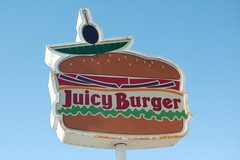 Juicy (Nurse Kitty Qat) Tags: sign vintage juicy burger plastic