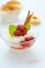 rice pudding with raspberries (photoinsel) Tags: food apple breakfast dessert lunch milk rice sweet cinnamon sugar delicious snack meal raspberry ricepudding dairyproducts grainandcorny