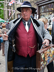 Black Marketeer (slaup) Tags: street man watches cigar case smoking criminal 1940s illegal selling trilby waistcoat reenactor haworth blackmarket spiv albertchain blackmarketeer