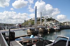 Torquay Harbour Bridge (stepheneverettuk) Tags: uk bridge england southwest water clouds canon reflections shadows devon torquay efs1785mmf456isusm innerharbour 60d